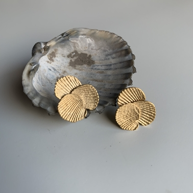 Imprint cluster earrings with gold vermeil