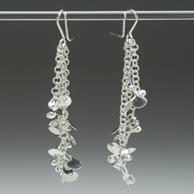 Blossom long drop daisy chain earrings, polished
