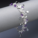 Blossom wire bracelet with amethyst, polished