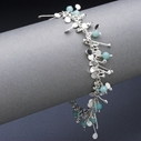Blossom wire bracelet with amazonite, polished