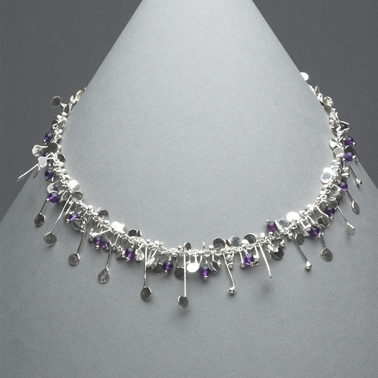 Blossom wire necklace with amethyst, polished