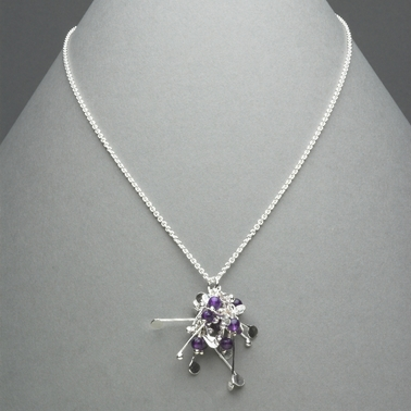 Blossom wire cluster pendant with amethyst, polished
