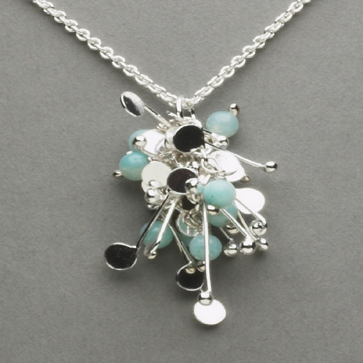 blossom wire cluster pendant with amazonite, polished