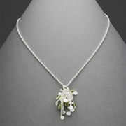Blossom wire cluster pendant with peridot, satin