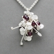 Blossom wire cluster pendant with garnet, satin