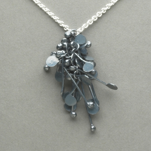 Blossom wire cluster pendant, oxidised