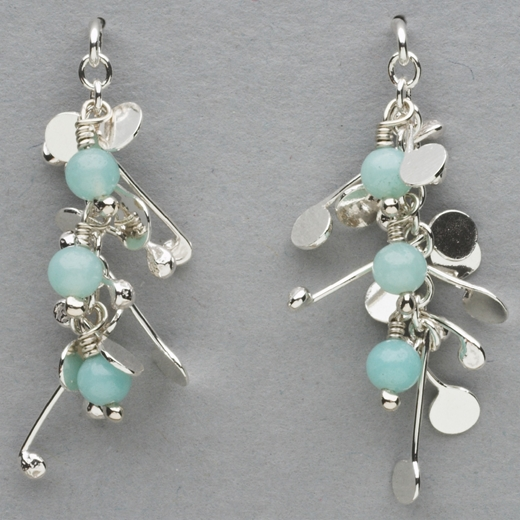 Blossom wire stud earrings with amazonite, polished