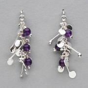 Blossom wire stud earrings with amethyst, polished
