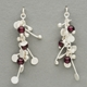 Blossom wire stud earrings with garnet, satin