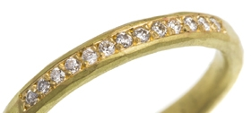 18ct yellow gold hammered diamond wedding ring by Natalie Jane Harris