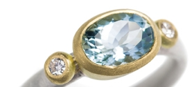 val faceted Aquamarine, diamond, 18ct yellow gold and silver ring by Natalie Jane Harris