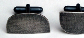 Oxidised silver textured cufflinks by Annabet Wyndham