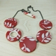 red and cream fern necklace