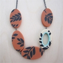 salmon fern ovals necklace