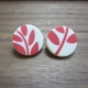 cream and red fern studs