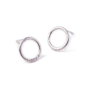 French Knit Imprinted Hoop Studs