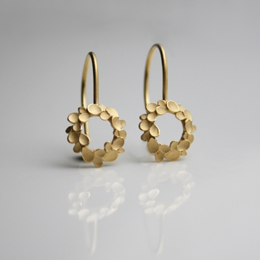 Floral-wreath-silver-gold-plated-drop-earrings