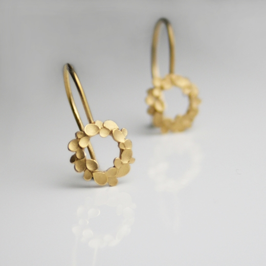 Floral-wreath-silver-gold-plated-drop-earrings 2