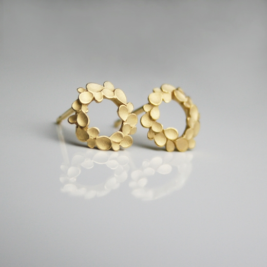 Floral wreath Silver gold-pated Ear-studs-1