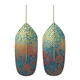 Flight drop earrings pale blue on green-maroon