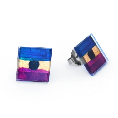 Purple Flat Square Studs
