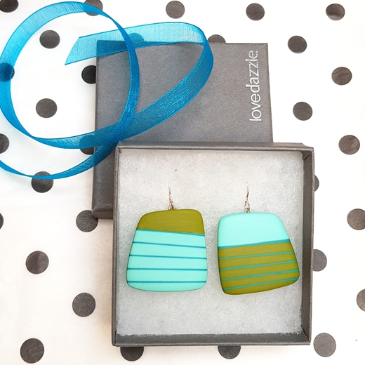Gift wrapped mismatch blue and green square resin drop earrings