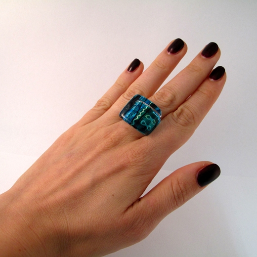 Blue/Turquoise High square Ring