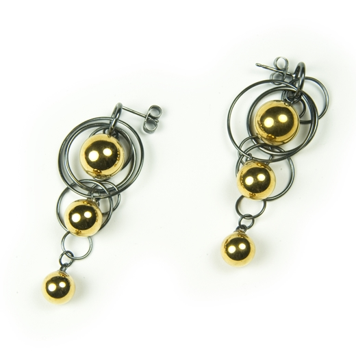 Gold Triple Bubble Earrings 2