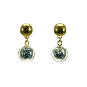 Sapphire CZ Small Bubble Etched Earrings Gold Plated