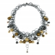 Gold Frost CZ Smaller Bubble Necklace Oxidised