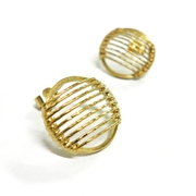 18ct Gold Plated Stripe Studs