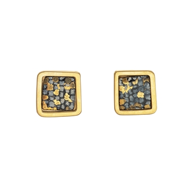 Gold plated blue and gold square framed studs