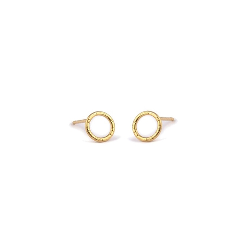 Gold Plated French Knit Imprinted Hoop Studs