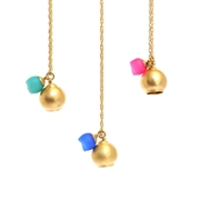 gold 2 cup pendant - pink