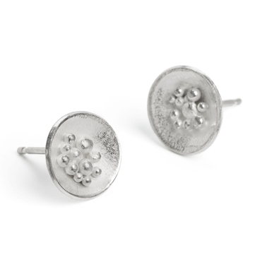 silver granulated earrings