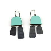 green two part stripe earrings