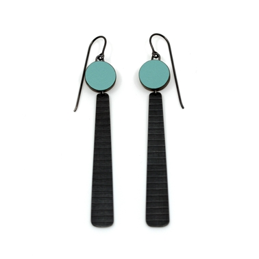 green circle and ling stripe earrings