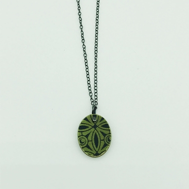 Green and Black Pendant Front Close