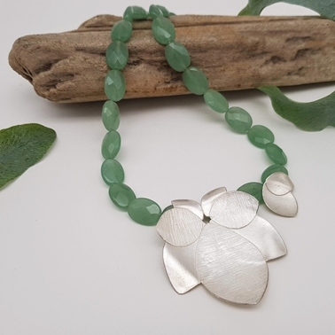 Spring green orchid necklace