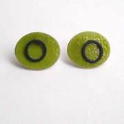 Green ovals with oxidised loop studs
