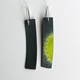 Green oxidised rectangle earrings back view