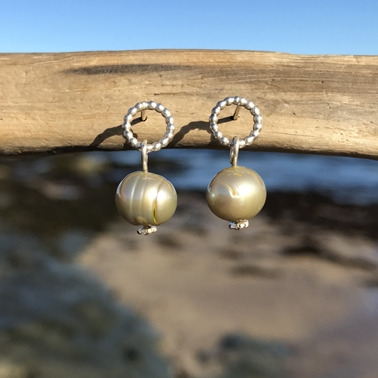 green pearl earrings