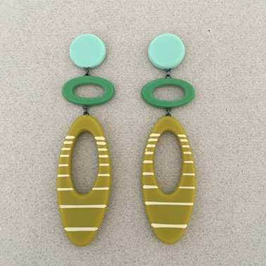 Maxi Ellipse earrings green