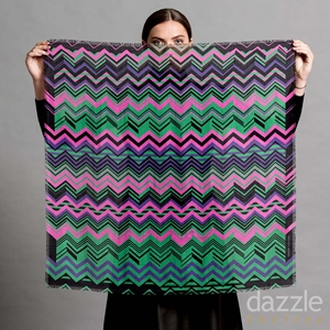 Zig a Zag Wool Silk Square - Electric