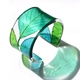 Teal lime and Turquoise White beam leaf cuff