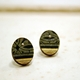 Green Black and Gold Stud Earrings