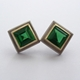 Square green tourmaline and gold earrings