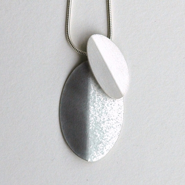 Violet grey fold and silver fold necklace