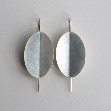 Violet grey large fold earrings