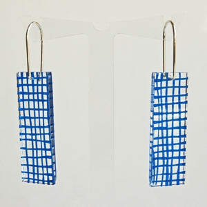 blue grid earrings